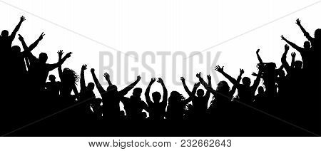 Cheerful People Crowd Applauding, Silhouette. Party, Applause. Fans Dance Concert, Disco Spectators,