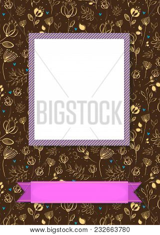 Floral Greeting Card. Graceful Yellow Flowers And Plants With Drawing Effect. Purple Frame For Custo