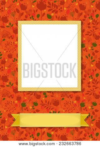 Floral Greeting Card. Graceful Silhouettes Of Flowers And Plants. Yellow Frame For Custom Photo. Yel