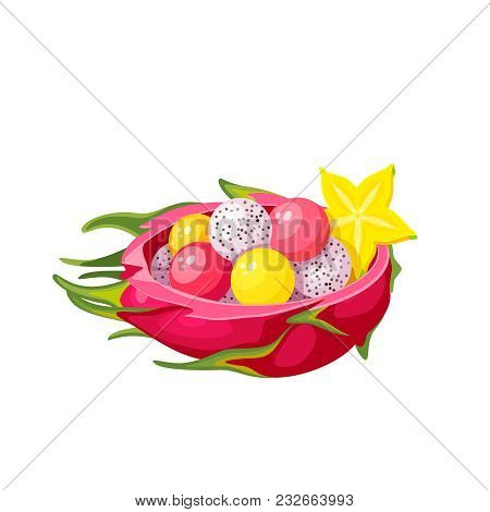 Summer Tropical Fruits For Healthy Lifestyle. Half Of Dragon Fruit With Salad, Decorated With Caramb
