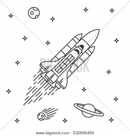 Space Shuttle Flight Vector Illustration. Rocketship Line Art Concept. Space Rocket Graphic Design.