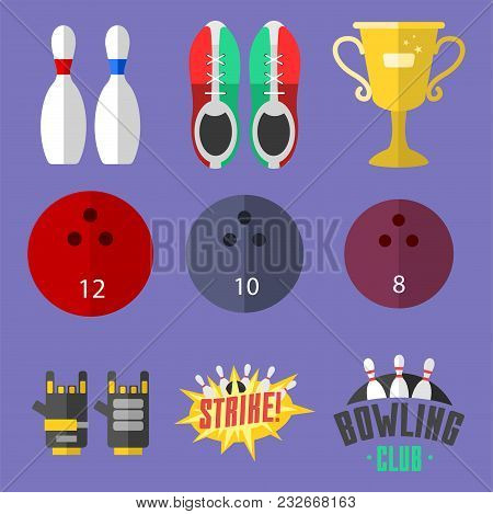 Set Of Vector Colorful Bowling Icons Sport Strike Pin Symbol. Ball Skittle Game Equipment Illustrati