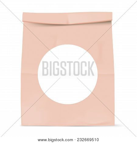 Brown Paper Bag Isolated On Background Grocery Kraft With White Round Sticker