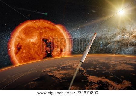 Hypersonic Missile Or Rocket Over The Apocalyptic Earth. A New Star Is Born In The Universe. A Comet
