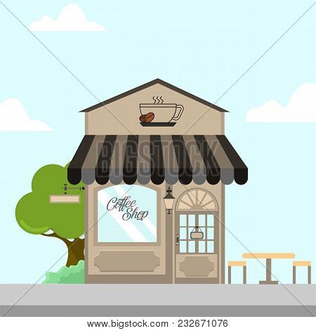 Coffee Shop Storefront Building Vector Background Illustration Graphic Design