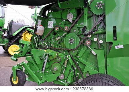 Kaunas, Lithuania - March 23: John Deere Tractors Engine On March 23, 2018 In Kaunas, Lithuania. Joh