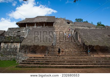 Ek Balam, Mexico - February 1, 2018: Very Steep Stairs In Majestic Ruins In Ek Balam. Ek Balam Is A