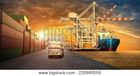 Cargo Truck And Cargo Ship With Container Going At The Cargo Yard Port  For Backgound For  Transport