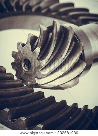 Differential Transmission Gearbox Detailed Closeup. Automobile Machinery Engineeing, Industrial Obje