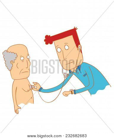 Illustration Of A Doctor Examine His Patient