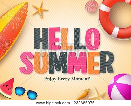 Hello Summer Vector Background Design With Colorful 3d Pattern Text And Beach Elements In Yellow Tex