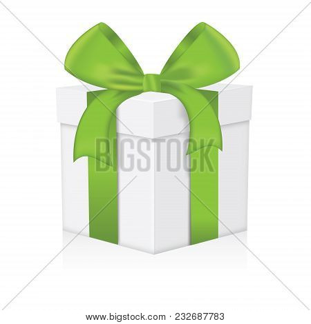 Green Gift Box Isolated On A White Background
