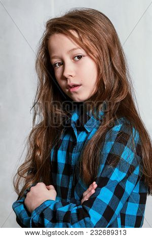 Closeup Portrait Fashion Beautiful Teen Girl 9-12 Years.face Caucasian Pretty Adolescent Model.styli