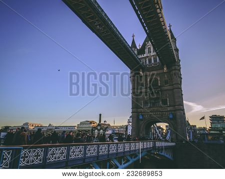 December 28th, 2017, London, England - Tower Bridge, Which Crosses The River Thames Close To The Tow