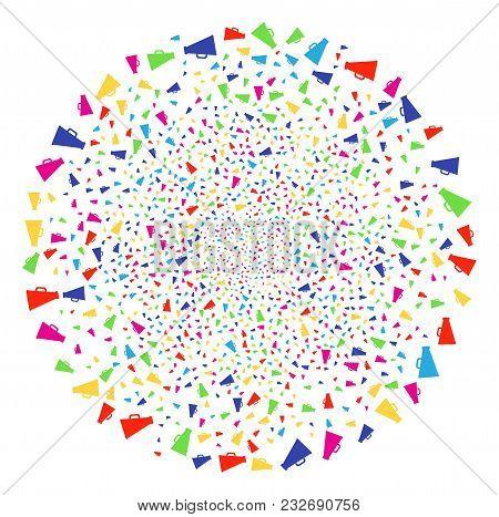 Colorful Megaphone Sparkler Globula. Vector Spheric Cluster Bang Designed With Random Megaphone Symb
