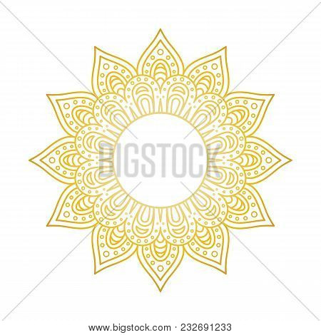 Mandala Pattern. Circle Monogram. Gold Floral Mandala. Decorative Round Ornament. Islam, Arabic, Ind