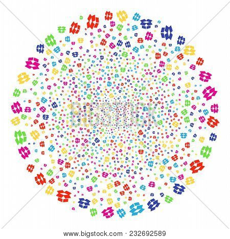 Multi Colored Open Box Decoration Cluster. Vector Globula Burst Organized From Randomized Open Box E