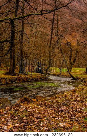 River Bosna Flowing Through The Park Vrelo Bosne In Bosnia And Herzegovina