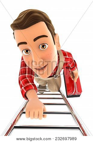 3d Handyman Climbing Up The Ladder, Illustration With Isolated White Background