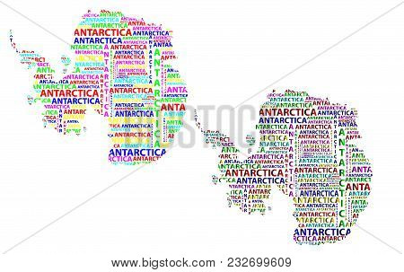 Sketch Antarctica Letter Text Continent, Antarctic Word - In The Shape Of The Continent, Map Of Cont