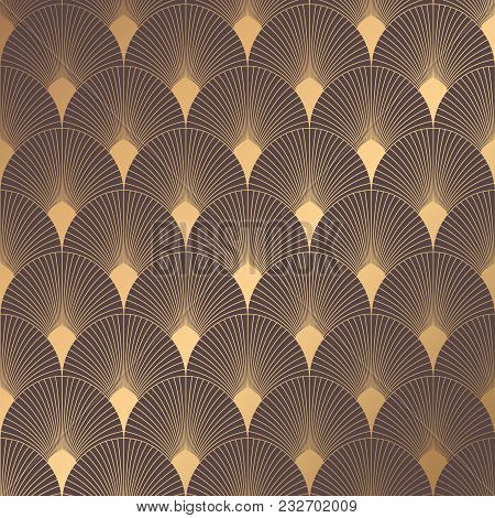 Art Deco Pattern. Seamless Golden Background. Minimalistic Geometric Design. Vector Line Design. 192