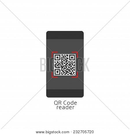 Qr Code Reader. Phone With Qr Code On The Display, Vector Illustration