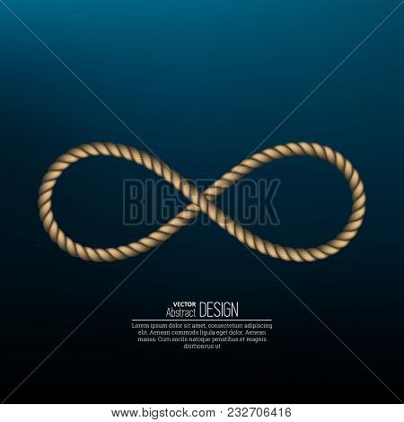 Symbol Infinity Twisted From A Sea Rope On A Dark Blue Background. Concept Of Sea Depth, Distance, A
