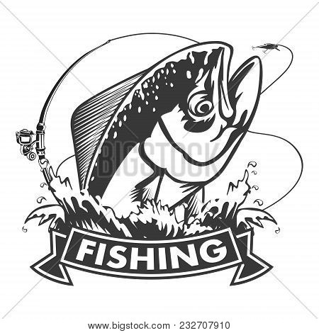 Mahimahi fishing on white logo illustration. illustration of dolphinfish can be used for creating lo