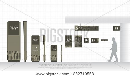Exterior And Interior Signage System. Direction, Pole, Wall Mount And Traffic Signage System Design