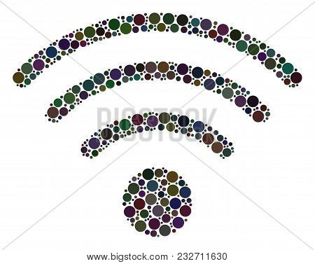 Wi-fi Source Collage Of Filled Circles In Various Sizes. Vector Dots Are Combined Into Wi-fi Source