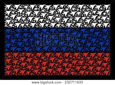 Russia National Flag Composition Designed Of Airplane Intercepter Pictograms. Vector Airplane Interc