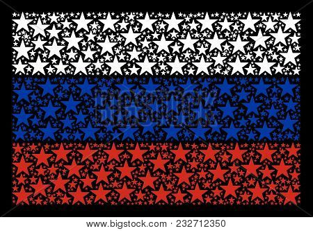 Russian State Flag Pattern Composed Of Confetti Star Design Elements. Vector Confetti Star Design El