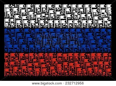Russia National Flag Collage Constructed Of Flag Design Elements. Vector Flag Design Elements Are Un