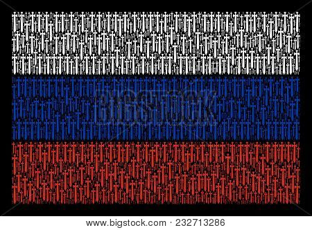 Russia State Flag Composition Designed Of Medieval Sword Elements. Vector Medieval Sword Elements Ar