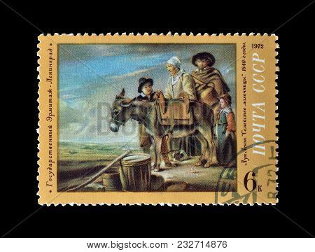 Soviet Union - Circa 1972 : Cancelled Postage Stamp Printed By Soviet Union, That Shows Painting By