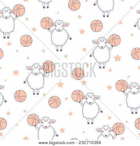 Animal Fitness. Funny Lambs With Basketball Ball And Stars. Seamless Pattern With Cute Sheep.