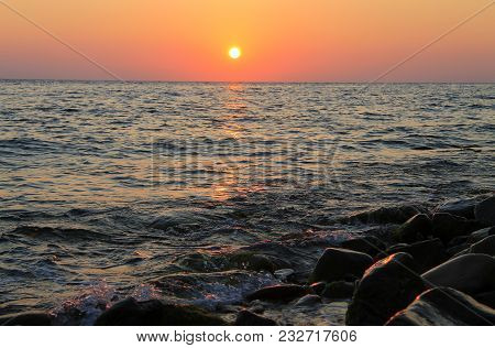 Sunset Over The Sea. Evening On The Seashore. Black Sea Seaside