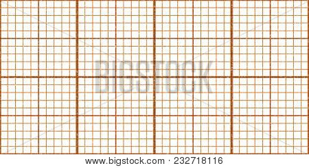 Orange Seamless Millimeter Paper Background. Tiling Graph Grid Texture. Empty Lined Pattern.