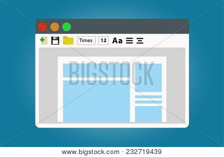 Text Editor, Open The Document For Editing. Illustration Isolated On White Background.