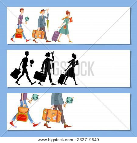 Set Of 3 Universal Horizontal Banners. Travel Concept. Template. Young Man A Backpack, Man With A Su