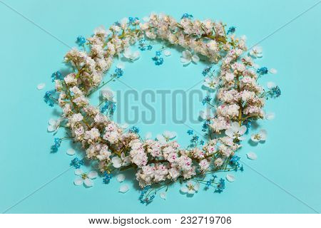 Spring Aqua Blue Background With White Blooming Chestnut Flowers Garland, Close-up Perspective View