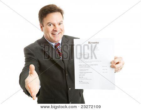 Confident businessman, ready with his resume, a smile, and a handshake.  Isolated on white.  (info on resume is all made up, and totally generic)