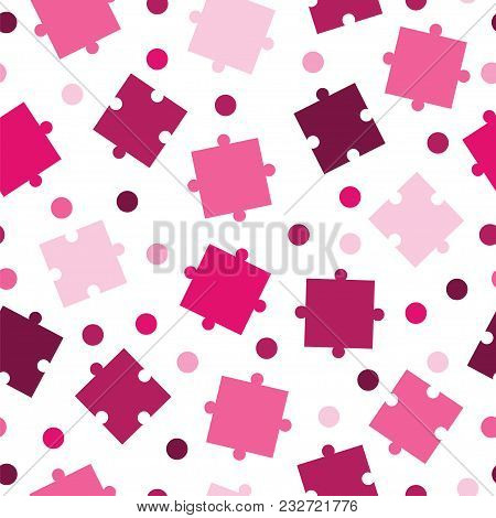 Seamless Tileable Pattern With Puzzle Pieces In Pink Shades