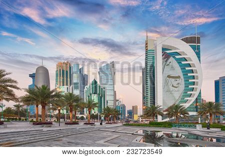 Doha, Qatar - March 9, 2018: Doha West Bay View From Sheraton Park, Doha, Qatar, Middle East.