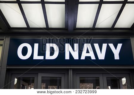 New York, Usa - August 31, 2017: Detail Of Old Navy Store In New York. It Is An American Clothing An