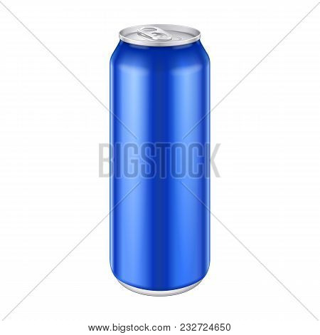 Blue Metal Aluminum Beverage Drink Can 500ml, 0, 5l. Mockup Template Ready For Your Design. Isolated