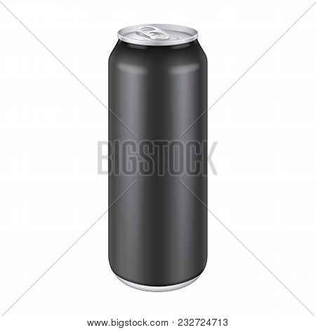 Black Metal Aluminum Beverage Drink Can 500ml, 0, 5l. Mockup Template Ready For Your Design. Isolate