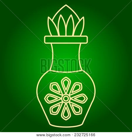 Icons Of Tamarind Juice. Holiday Ugadi. Fine Lines Neon Icon. Neon Sign. Effect Of Neon Glow. Vector