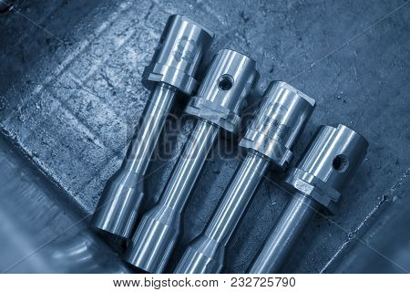 The Metal Shaft In The Container Box From Cnc Lathe Machine.the Metal Shaft Manufacturing.