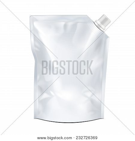 Blank Food Doypack Flexible Blank Stand Up Pouch Bag With Corner Spout Lid. Mock Up, Template. Illus